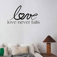 Amazon Com Aayuj Wall Sticker 52cm29 7cm Love Never Fails Quote Bedroom Living Room Decal Pvc Wall Sticker Kitchen Dining