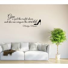 Wall Decal Quote Give A Girl Shoes Conquer The World Marilyn Monroe Quote Gd65 Walmart Com Walmart Com