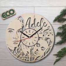 Amazon.com: KovalStudio Adele Wall Clock - Battery Operated Non Ticking  Clocks - Wood Modern Wall Decor - Office Nursery Decorative Clocks - Custom  Gift Birthday Christmas Anniversary - Size 12 Inch: Home & Kitchen