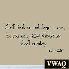 I Will Lie Down And Sleep In Peace Psalm 4 8 Wall Decal By Vwaq Psalms Christian Quotes Bible Scriptures