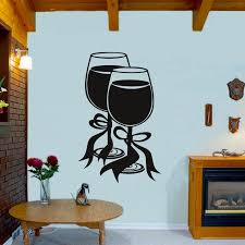 Modern Style Restaurant Home Two Glasses Of Wine With Bow Ribbon Wall Sticker Kitchen Decorative Mural Rooms Stikers Diy Decals Decoration Murale Room Decorationstikers Mural Aliexpress