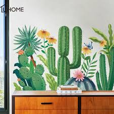 Cactus Wall Stickers 3d Wall Decals Waterproof Removable Mural Art Pvc Wall Stickers For Living Rooms Wall Art Home Decoration Aliexpress