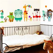 Cute Elephant Bear Zebra Giraffe Wait For Bus City Wall Stickers For Kids Baby Room Home Decor Cartoon Animals Decals Mural Art Animal Decal Animal Cartooncartoon Baby Giraffes Aliexpress