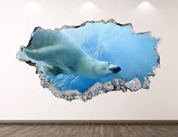 Amazon Com West Mountain Polar Bear Wall Decal Art Decor 3d Smashed Arctic Animal Sticker Poster Kids Room Mural Custom Gift Bl164 50 W X 30 H Home Kitchen