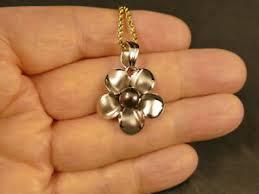 14k white gold 24mm plumeria pendant w