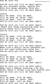Baptist Hymnal, Christian Song: God Be With You- lyrics with PDF for  printing