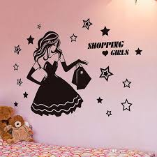 Fashion Shopping Girls Clothing Store Wall Decal Star Vinyl Home Decor For Bedroom Removable Decorative Window Glass Mural Tree Decals Tree Decals For Walls Cheap From Joystickers 10 76 Dhgate Com