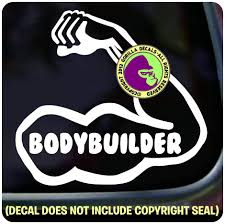 Amazon Com Bodybuilder Bodybuilding Fitness Workout Vinyl Decal Bumper Sticker Laptop Car Window Sign White Arts Crafts Sewing