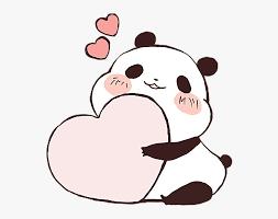 panda cute love heart kawaii freetoedit