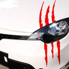Red Reflective Monster Scratch Stripe Headlight Car Truck Vinyl Decal Sticker Ebay