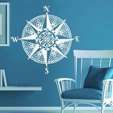 Mandala Compass Wall Decal Navigate Ship Vinyl Sticker Decals Nautical Compass Rose Ocean Sea Living Room Bedroom Deco A417 Wall Stickers Aliexpress
