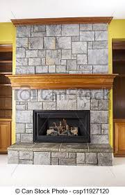 natural gas fireplace and crafted stone