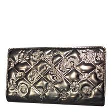 chanel wallet silver patent leather