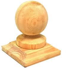 1 Ball Wooden Fence Finial Base To Suit 3 Post Untreated Amazon Co Uk Diy Tools