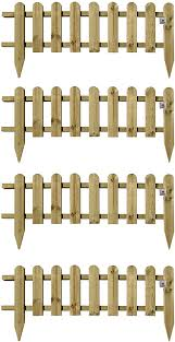 Pack Of 4 X Large Wooden Panel Picket Fencing Wood Garden Border Fence Amazon Co Uk Diy Tools