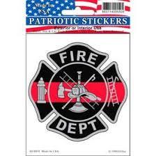 Fire Dept Fireman Red Line Full Color Window Decal Sticker Licensed Custom Sticker Shop