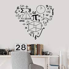 Amazon Com Fostudork Math Symbol Wall Decal School Class Student Teen Room Interior Decor Mathematics Love Shape Vinyl Window Stickers Mural 10 Blush 57x63 Cm Home Kitchen