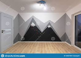 Kids Bedroom With Mountains Chalkboard Paint Stock Photo Image Of Maintenance Improvement 130337788