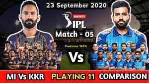 IPL 2020 Match 5 - KKR Vs MI Playing 11 ...