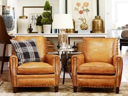 distressed brown leather armchair