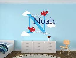 Airplane Wall Decals Personalized Airplane Wall Decal Airplane Clouds Wall Decal Boys Nursery Decor Boys Name Wall Decal Airplanes Wall Decals Nursery Decor Boy Kid Room Decor