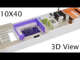 10x40 house plan 3d view by nikshail