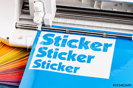 Production Making Sticker With Plotter Cutting Machine Cyan Blue Colored Vinyl Fim With Color Fan Guide Advertising Industry Diy Design Concept Background Buy This Stock Photo And Explore Similar Images At