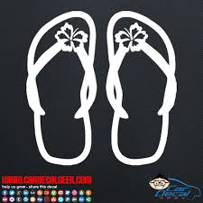 Flip Flops With Hibiscus Flowers Car Window Vinyl Decal Sticker