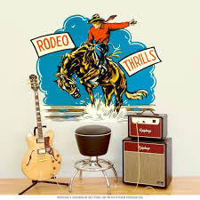 Rodeo Thrills Cowboy Western Wall Decal At Retro Planet