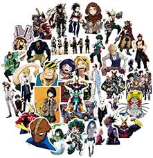 Amazon Com My Hero Academia Anime Cartoon Laptop Stickers Waterproof Skateboard Pad Macbook Car Snowboard Bicycle Luggage Decal 50pcs My Hero Academia Computers Accessories