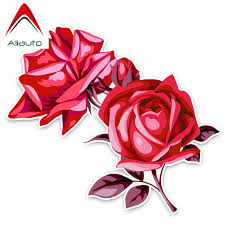Aliauto Pretty Flowers Car Stickers Charming Red Rose Decor Vinyl Decal For Mazda 6 Peugeot 206 Land Rover Opel 15cm 13cm Car Stickers Aliexpress