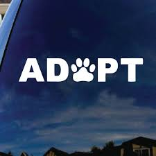 Adopt Dog Cat Paw Print Car Truck Laptop Sticker Decal 6 Wide