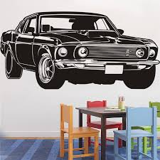 Classic Shelby Gt Ford Mustang Muscle Racing Car Wall Decal Art Home Decor Vinyl Wall Sticker 3 Size 40 Colors Wall Paper Vinyl Wall Stickers Car Wall Decalwall Sticker Aliexpress