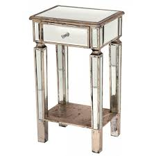 mirrored bedside one drawer cabinet