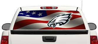 Product Philadelphia Eagles Football American Flag Rear Window Decal Sticker Pick Up Truck Suv Car 3