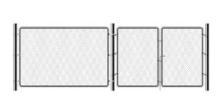 Realistic Metal Chain Link Fence Rabitz Art Design Gate Cemetery Fence Hedge Prison Barrier Secured Property The Chain Link Of Hedge Wire Mesh Steel Metal Royalty Free Vector Graphics