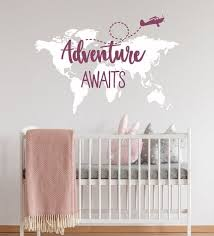 Adventure Awaits Nursery World Map Adventure Wall Decal Etsy Adventure Awaits Nursery Travel Theme Decor World Map Wall Art