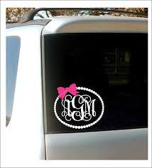Monogram Car Decal Monogram With Bow Pearl Border Vinyl Decal Etsy In 2020 Monogram Car Stickers Car Monogram Decal Monogram Decal