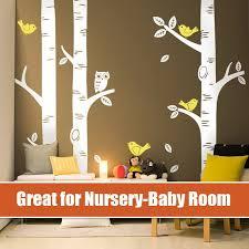 Owl Wall Sticker 3 Big Birch Tree Large Wall Decal Project Nursery Featured Baby Nursery Vinyls For Home Mural Wallpaper Owl Wall Sticker Nursery Vinylswall Sticker Aliexpress