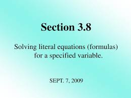 solving literal equations formulas