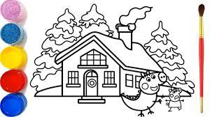 mẫu tranh tô màu ngôi nhà đẹp - byhien