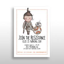 Editable Printable Orange Star Wars Girl Invitations Rey Bb 8 Birthday Party Invite Instant Download The Force Awakens The Last Jedi Pdf Star Wars Invitations Girls Star Wars Party Star Wars