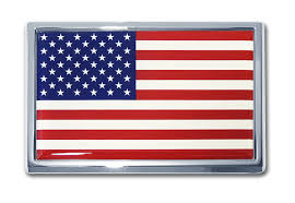 Small American Flag Chrome Emblem Elektroplate