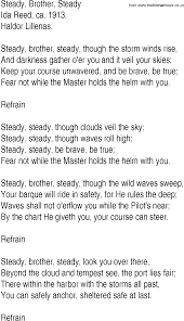 Hymn and Gospel Song Lyrics for Steady, Brother, Steady by Ida Reed ca