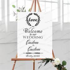 New Design Wedding Weclome Sign Board Stickers Custom Bride Groom Names Vinyl Wall Decal Wedding Ceremony Decoration Wl587 Wall Stickers Aliexpress