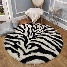 Shag Area Rug Zebra Black Ivory Shag Rugs For Living Room Bedroom Nursery Kids College Dorm Carpet By European Made Mh10 Maxy Home Silk Flower Arrangements