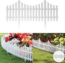 Fineway Set Of 4 Plastic Wooden Effect Lawn Garden Border Edge Edging Plant Picket Fencing Interlocking Panels For Flowerbeds White Amazon Co Uk Diy Tools