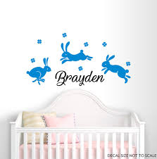 Wall Decals Boys Name Wall Decal Boy Rabbits Wall Decals Nursery Wall Decals Personalized Decals Bunny Wa Nursery Wall Decals Baby Room Decals Kids Room Decals