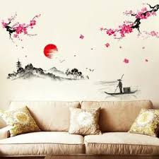 Ik166 Wall Decal Sticker Decor Japanese Cherry Cherry Birds Swallows Wood Children S Bedroom Girl Decor Decals Stickers Vinyl Art Home Garden Map India Org