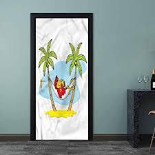 Amazon Com Decal Beach Hammock Palm Tree Shade Waterproof Removable 3d Door Art Stickers For Kids Room Bedroom Baby Room 23 6 X 78 7 Inch Baby
